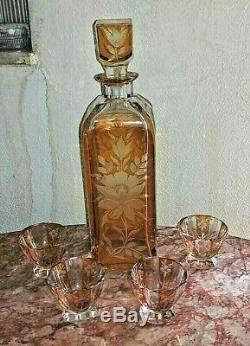 Vintage Continental Cut-to-Clear Art Deco Decanter and Cups Set