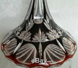 Vintage Czech/Bohemian Cased Ruby Red Cut To Clear 10 1/2 Ships Decanter