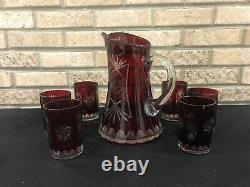 Vintage Czech Bohemian Ruby Red Crystal Cut To Clear Pitcher And 6 Glasses Set