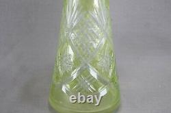 Vintage Czech Bohemian Yellow Green Cut to Clear Crystal Decanter
