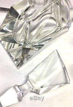 Vintage Decanter Bohemian Czech Moser Art Deco Clear Cut Crystal 4 Cordial Glass