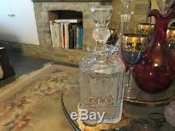 Vintage Edinburgh Crystal THISTLE Square Spirit Decanter, Early Script Mark MINT