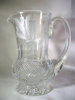 Vintage Edinburgh Crystal Thistle (Cut) Cordial Decanter with Cordial Glasses
