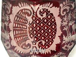 Vintage Egermann Ruby Red Bohemian Czech Cut To Clear Art Glass Decanter 13
