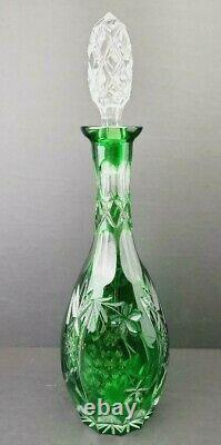 Vintage Emerald Green Cut to Clear Crystal Glass Decanter with Faceted Stopper