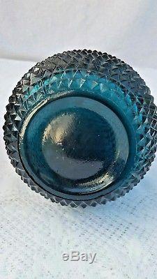 Vintage Empoli Italian Art Rare Teal Blue Decanter Genie Bottle Diamond Cut