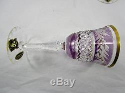 Vintage German Amethyst Cut To Clear Crystal Glass Decanter Set w 6 Wine Goblets