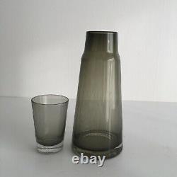 Vintage Mid-Century Modern Etched Glass Bedside Carafe Decanter And Tumbler MCM