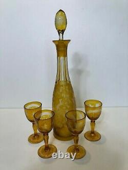 Vintage Moser Bohemian Cut Glass Amber Liquor Decanter with4 Goblets
