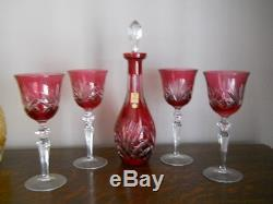 Vintage Nachtmann lead crystal cut to clear wine set decanter & glasses/ hocks