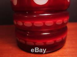 Vintage Ruby Red Flash Overlay Cut to White Decanter Carafe With Applied Handle