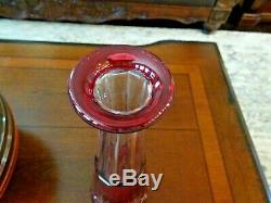 Vintage St. Saint Louis Massenet French Crystal Cranberry Cut to Clear DECANTER