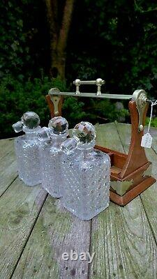 Vintage Tantalus With 3 Cut Glass Decanters Grinsell's Patent Lock Original Key