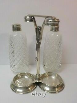 Vintage Tiffany & Co. Tantalus, Sterling Silver Stand, Cut Glass Bottles & Key