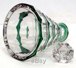 Vintage VAL ST LAMBERT Crystal EMERALD GREEN Cut to Clear SHIP'S LIQUOR DECANTER