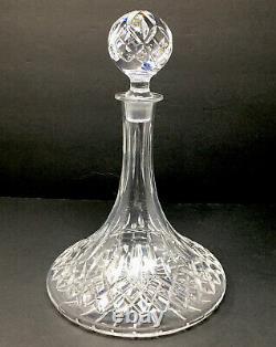 Vintage Waterford Ships Decanter Lismore Pattern Cut Crystal Liquor Bottle EUC