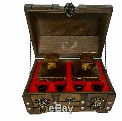 Vintage Wood Treasure Chest Bar Amber Diamond Cut 2 Decanters 4 Shot Glasses Set