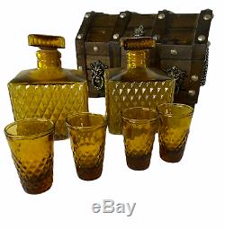 Vintage Wood Treasure Chest Bar Set 2 Decanters 4 Shot Glasses Amber Diamond Cut