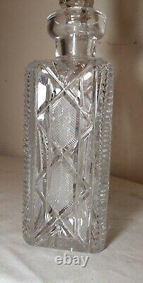 Vintage american brilliant cut clear crystal liquor wine decanter glass bottle