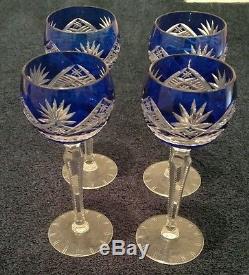 Vintage cut to clear cobalt Bohemian Czech crystal wine decanter & glass set