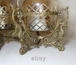 Vintage ornate brass figural 2 decanter cut to clear crystal glass tantalus set