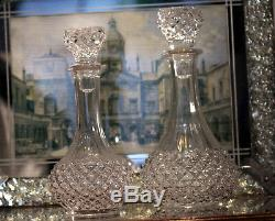 Vintage pair of crystal cut glass decanters