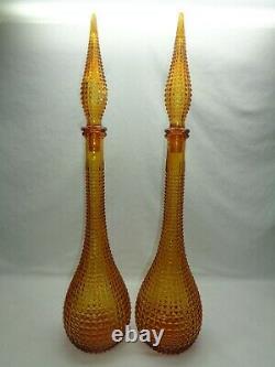 Vtg 22 Empoli Diamond Cut Art Glass Decanters Genie Bottle Mcm 1960s Blenko Era