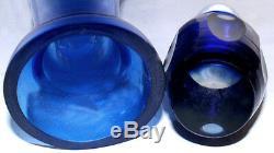 Vtg. Bohemian Czech Art Glass Cobalt Blue Cut To Clear 15t Decanter with Stopper