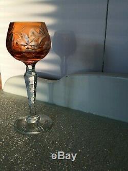 Vtg Bohemian Czech Cut Glass Crystal Liqueur Cordial 10 Gem Colored Stem Glasses