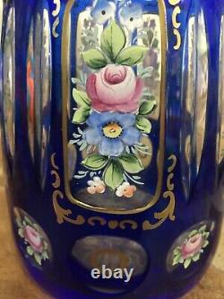 Vtg Cobalt Blue Cut to Clear Glass Floral Crystal Decanter Czechoslovakia