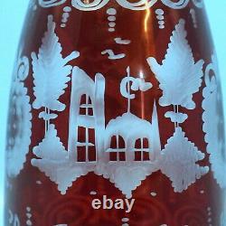 Vtg Czech Ruby Red Cut/Clear CRYSTAL DECANTER Hunt Stag Deer Castle/Chalet