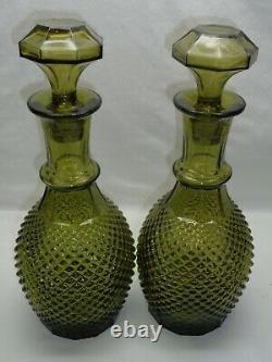 Vtg Italian Diamond Cut Genie Bottle Hobnail Green Decanters Mcm 60s Empoli Era
