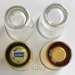 Vtg TRUNK TREASURE CHEST Diamond Cut Amber Glass Whisky Decanter ShotGlasse BAR