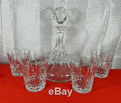 Wedgwood Wwc4 Diamond & Vertical Cuts Cut Glass Wine Decanter With 4-glasses
