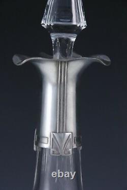 WMF Art Nouveau Jugendstil decanter polished pewter and cut glass German c1905
