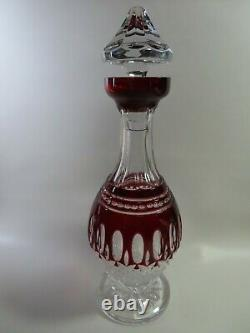 Waterford Clarendon Cut to Clear Ruby Red Decanter And Stopper