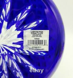 Waterford Crystal, Classic Lismore Cobalt Cut to Clear Crystal Ships Decanter