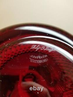 Waterford Crystal John Rocha Red Cut Decanter with Stopper Signed O'Keeffe
