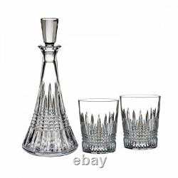 Waterford Crystal Lismore Decanter and Set of 2 Double Old Fashioned Glasses