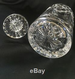 Waterford Flare & Diamond Cut Crystal Spirit Decanter & Stopper Ireland Signed