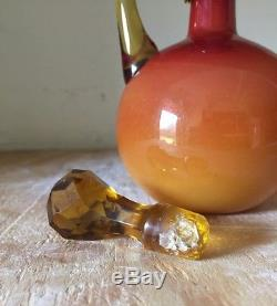 Wheeling Peach Blow Glossy Satin Glass Decanter With Amber Cut Stopper 1886-1891