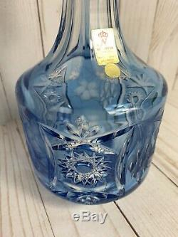 Whiskey Decanter Nachtmann Traube Light BLUE CUT TO CLEAR CRYSTAL Germany