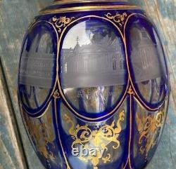 Wonderful 19th Century Bohemian Cobalt Cut to Clear Decanter Wit Etched Panels